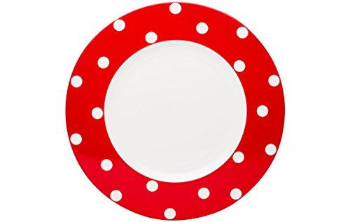 Red Vanilla Freshness Dots Dinner Plate Set of 6 1125 Red