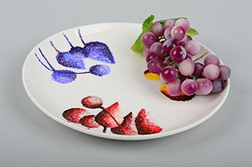 Handmade ceramic plate ornamented designer kitchenware painted unusual decor
