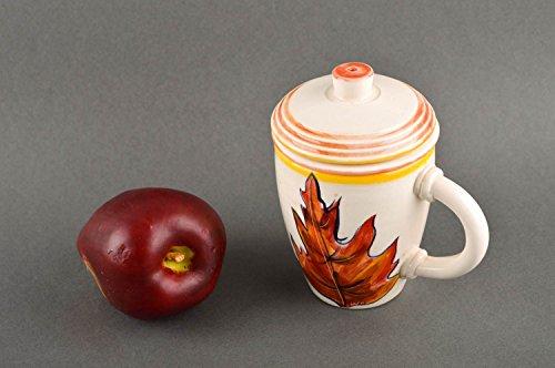 Handmade clay cup unusual designer kitchenware decorative painted present