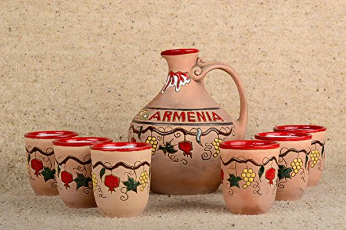 Set of handmade ware ceramic cups and decanter cute designer kitchenware