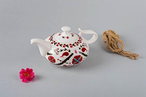 White small teapot handmade stylish kitchenware painted designer teapot