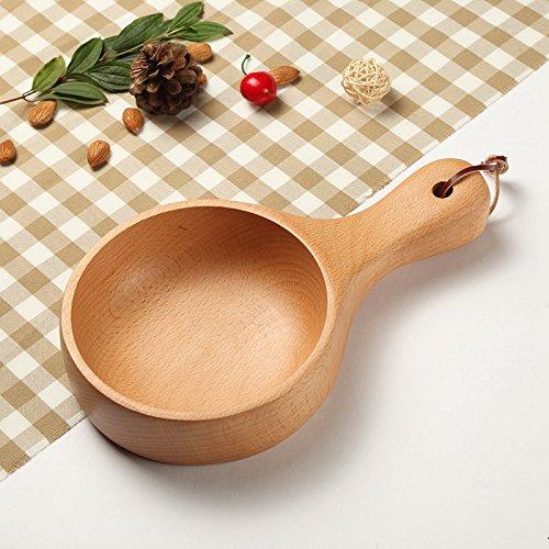 Solid wood Salad Bowl Bowl handle wooden fruit bowl of kimchi Bowl Creative household utensilsNatural color 261548cm
