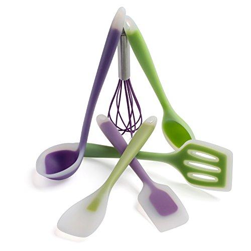 Premium Non-stick Silicone Spatulas + Whisk - 6 Piece Set - 480°f High Heat Resistant Spatulas - Hygienic Food