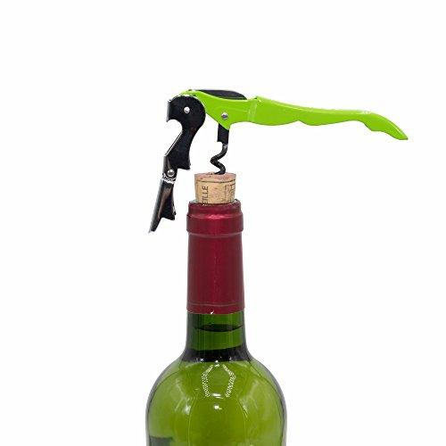 ASDIBUY Stainless Steel Waiters CorkscrewAll-in-one Wine Opener Bottle Opener and Foil Cutter… green