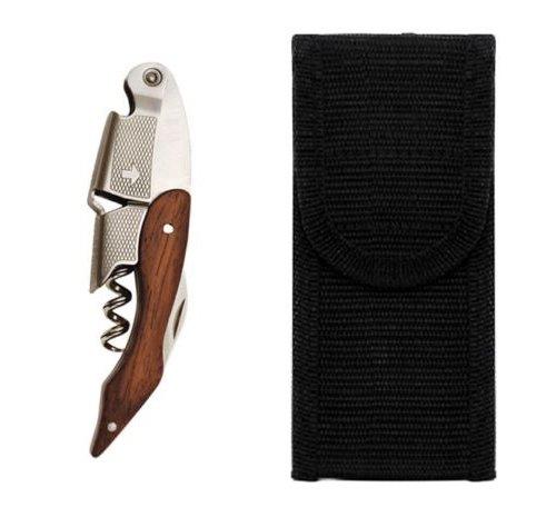 NEW Wood Handle Professional Corkscrew Waiters Wine Bottle Opener  Belt Sheath