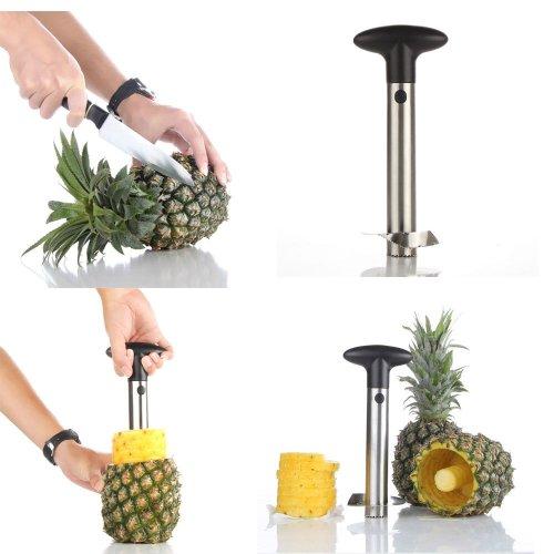 Flexzion Pineapple Corer Peeler De-corer Stainless Steel Fruit Easy Slicer Cutter Kitchen Tool With Plastic Handle
