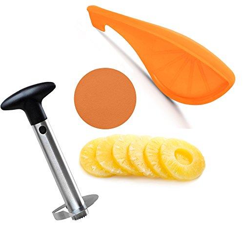Pineapple Peeler Corer Slicer Stainless Steel, Citrus Peeler, Manual Cushioned Round Orange Jar Opener