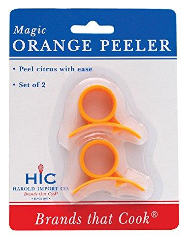 Hic Magic Orange Citrus Grapefruit Peelers, Plastic Safety Blade, Set Of 2