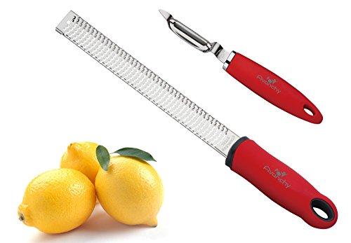 Combo! Avanchy Lemon Zester - Cheese Grater + Vegetable Twin Swivel Peeler. No Rust Stainless Steel Blade. Comfortable