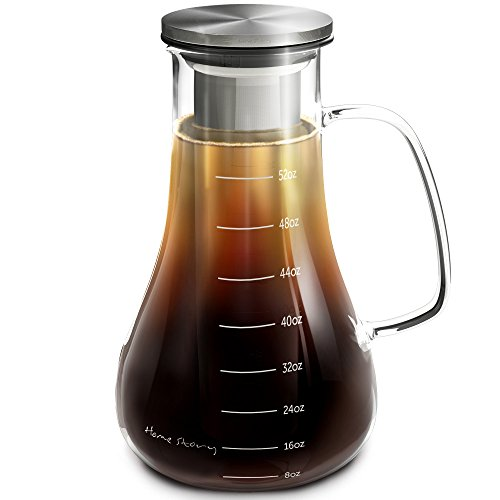 Cold Brew Coffee Maker - Iced Coffee Maker - 52 oz Cold Brew Pitcher - Ideal Christmas Gift - Works even as Iced Tea Infuser Pitcher or Cold Press Coffee Maker - Stainless Steel Design - Two Seals