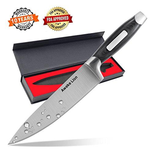 Japanese Chef Knife Awakelion 8 Professional High Carbon Stainless Steel Kitchen Knife Sharp Blade and Balanced Ergonomic Pakka Wood Handle with Gift Box