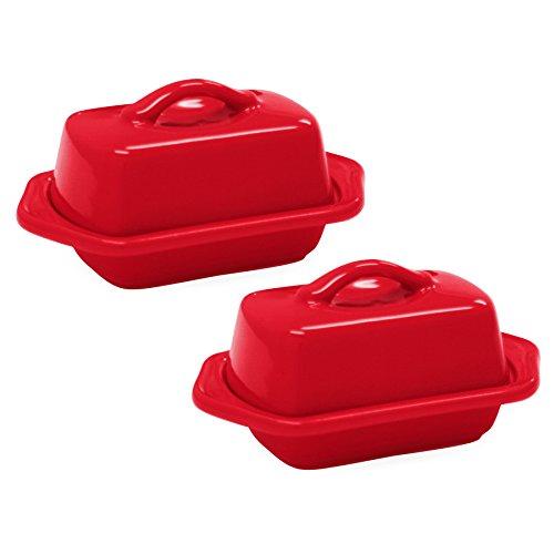 Chantal True Red Stoneware Mini 5 Inch Butter Dish Set of 2