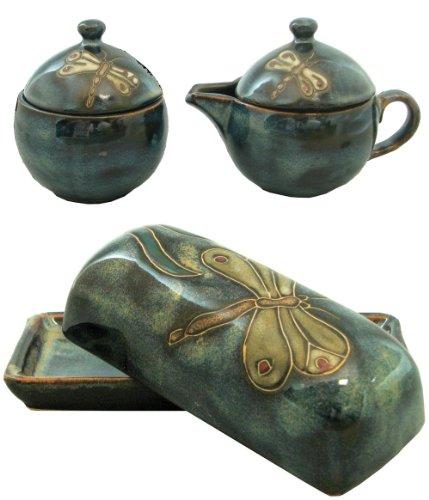 Mara Stoneware Collectible Sugar Bowl-Creamer-Butter Dish Set - Mexican Pottery -Blue Dragonfly Design