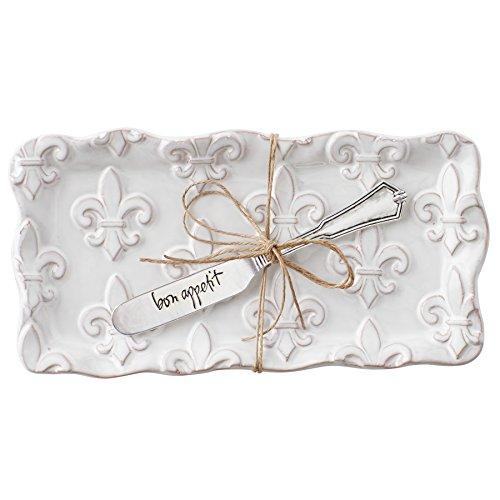 Mud Pie 4874008 Fleur de Lis Butter Dish Set White