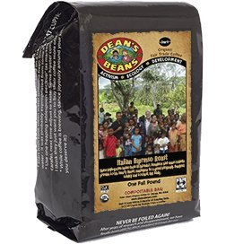 Deans Beans Organic Coffee Company Italian Espresso Roast Whole Bean 16 Ounce Bag Organic Fair Trade and Kosher Certified