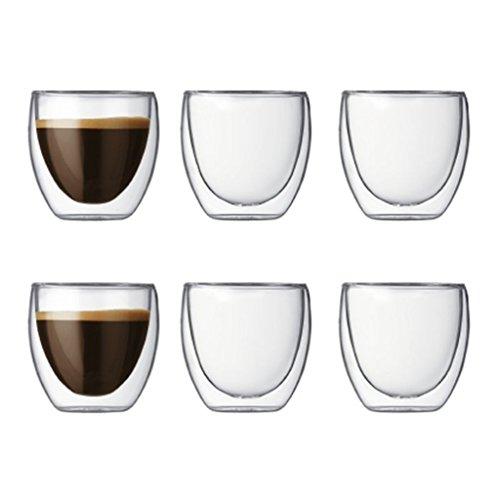 Pavina Double Wall EspressoShot Glass 2-12-Ounce Pay 4 Get 6 Bonus Pack