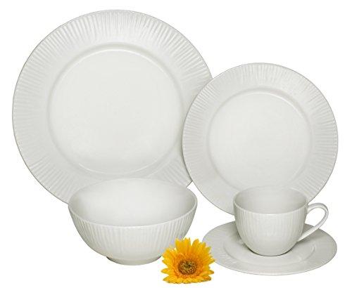 Melange  40-Piece Porcelain Dinnerware Set Cascades  Service for 8  Microwave Dishwasher Oven Safe  Dinner Plate Salad Plate Soup Bowl Cup Saucer 8 Each