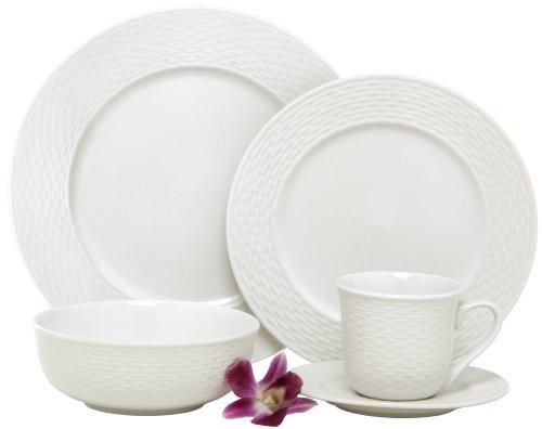Melange  40-Piece Porcelain Dinnerware Set Nantucket Weave  Service for 8  Microwave Dishwasher Oven Safe  Dinner Plate Salad Plate Soup Bowl Cup Saucer 8 Each