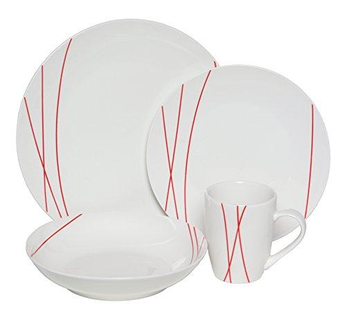 Melange Coupe 16-Piece Porcelain Dinnerware Set Red Lines  Service for 4  Microwave Dishwasher Oven Safe  Dinner Plate Salad Plate Soup Bowl Mug 4 Each