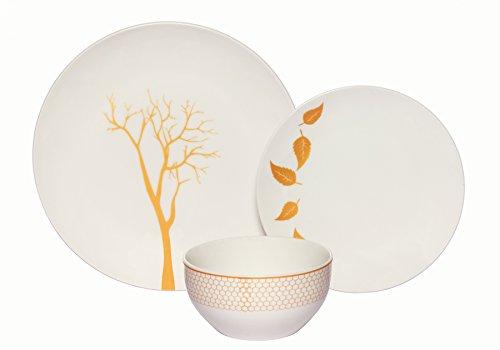Melange Coupe 18-Piece Porcelain Dinnerware Set Gold Nature  Service for 6  Microwave Dishwasher Oven Safe  Dinner Plate Salad Plate Soup Bowl 6 Each