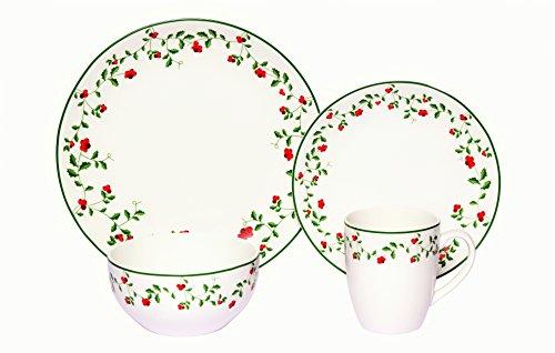 Melange Coupe 32-Piece Porcelain Dinnerware Set Winterberry  Service for 8  Microwave Dishwasher Oven Safe  Dinner Plate Salad Plate Soup Bowl Mug 8 Each