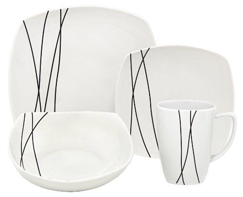 Melange Square 16-Piece Porcelain Dinnerware Set Black Lines  Service for 4  Microwave Dishwasher Oven Safe  Dinner Plate Salad Plate Soup Bowl Mug 4 Each