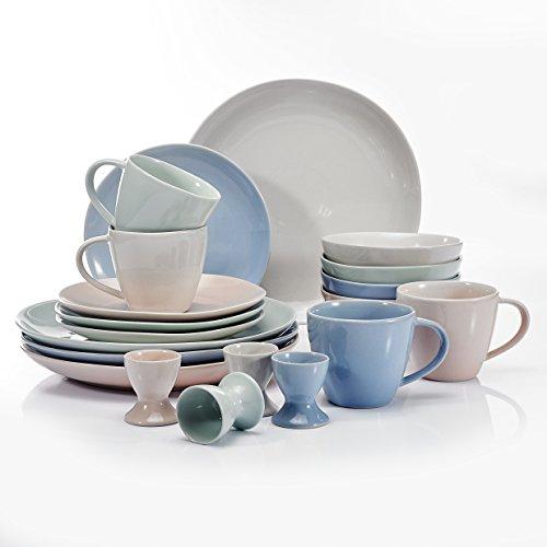 Vancasso 20-Piece 4 Colors Glazed Porcelain Dinnerware Combi Sets Service for 4 including 11 Dinner Plates 8 Dessert Plates 6 Cereal Bowls 5 Mugs 2 Egg Cups
