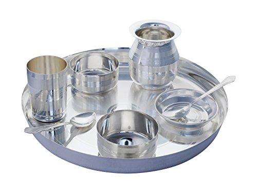 GoldGiftIdeas 12 Inch Silver Plated Dinner Set Dinnerware Set with Marwari Lota Buffet Dinner Set