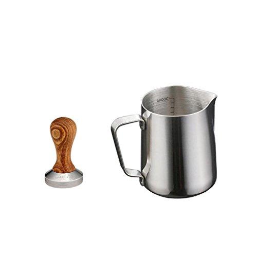 MagiDeal 350ml Stainless Steel Coffee Frothing Milk Tea Latte Jug Scale With Tamper