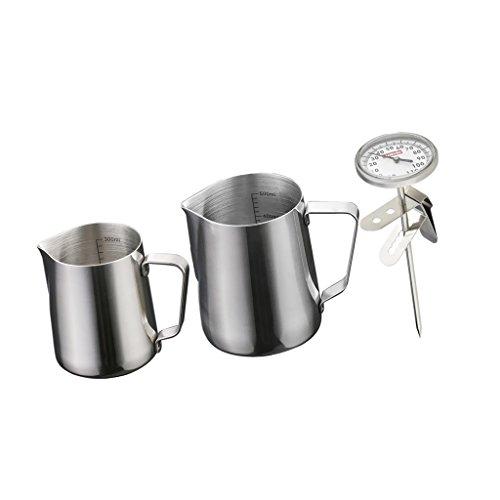 MonkeyJack 2Pieces Stainless Steel Coffee Frothing Milk Tea Latte Jug ScaleThermometer