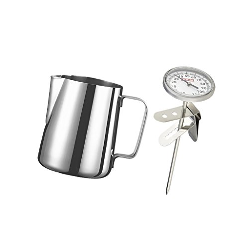 MonkeyJack 600ml Stainless Steel Coffee Frothing Milk Tea Latte Jug With Thermometer