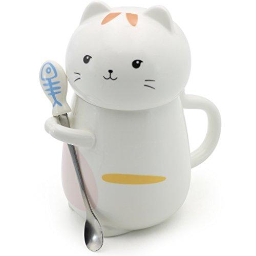 EPFamily Cat Shaped Mug Cute Coffee Tea Mug with Spoon for Cat Mom Dad Cat Lovers 14 Oz
