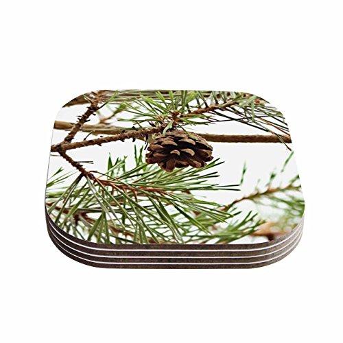 KESS InHouse Sylvia Comes Pinecone Green Brown Coasters Set of 4 4 x 4 Multicolor