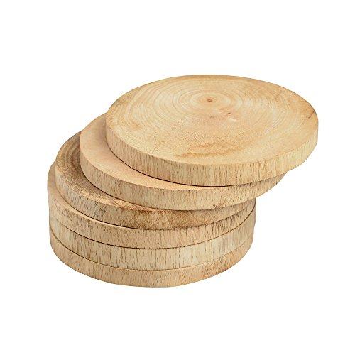 Rusticity Wooden Coaster Set of 6 - Circular plain design  Handmade  4x4 in