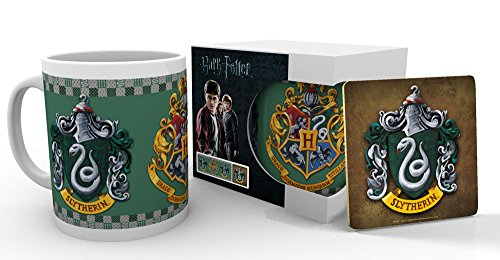 Officially Licensed Harry Potter Hogwarts Slytherin Crest Mug and Coaster Set