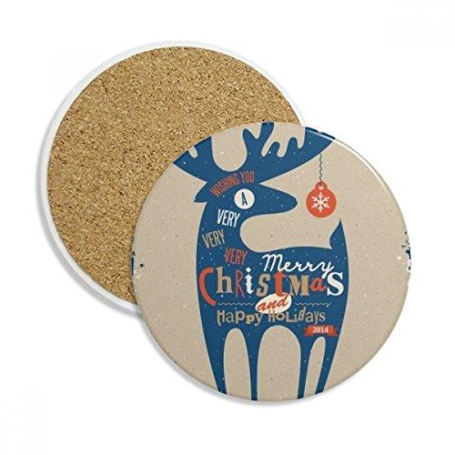 Christmas Holiday Blue Deer Ceramic Coaster Cup Mug Holder Absorbent Stone for Drinks 2pcs Gift