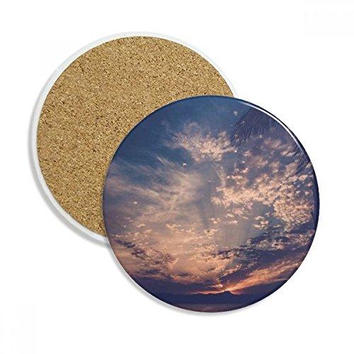 Orange Dark Blue Sky Clouds Ceramic Coaster Cup Mug Holder Absorbent Stone for Drinks 2pcs Gift