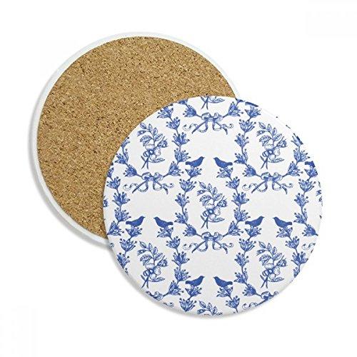 Plant Leaf Blue White Symbol Ceramic Coaster Cup Mug Holder Absorbent Stone for Drinks 2pcs Gift