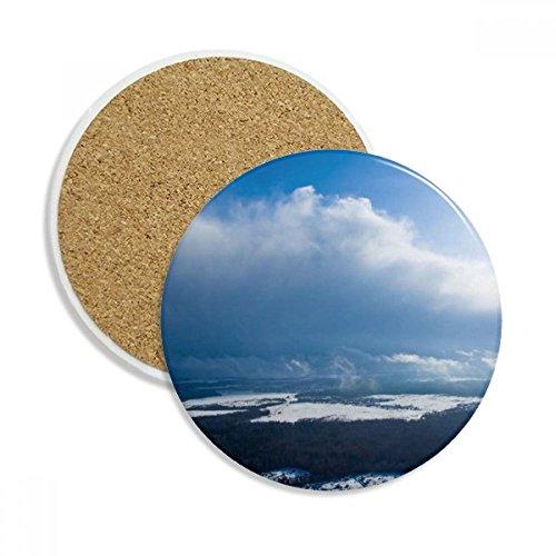 Sunshine Light Blue Sky Clouds Ceramic Coaster Cup Mug Holder Absorbent Stone for Drinks 2pcs Gift