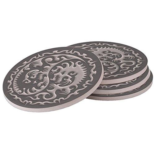 Silver Dragon - Sandstone Drink Coaster set of 4 coasters