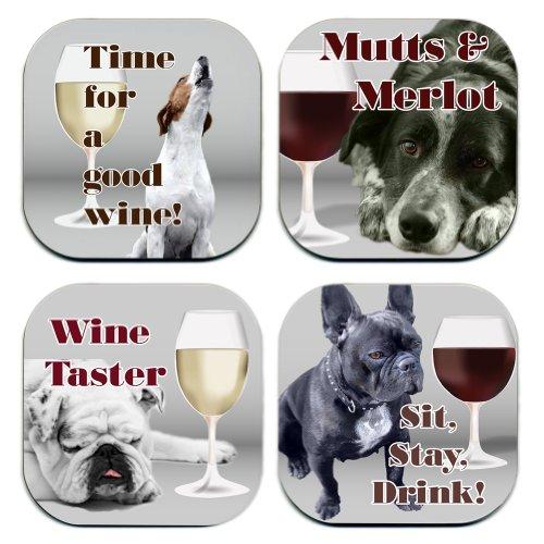 Pups N Wine Coaster Set
