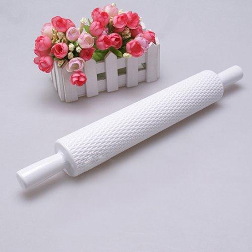 Joylive 1pcs White Embossed Rolling Pin Fondant Cake Paste Gum Sugarcraft Decorating Tool