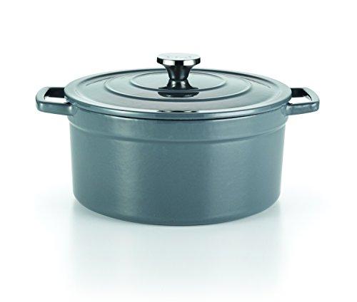 T-fal E63146 Enamel Cast Iron Nonstick Dishwasher and Oven Safe Stock Pot Cookware 6-Quart Gray