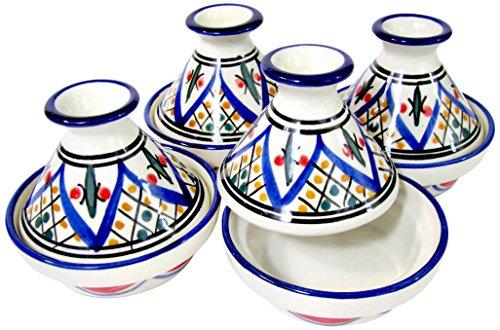 Le Souk Ceramique TK18 Stoneware Mini Serving Tagines Set of 4 Tabarka