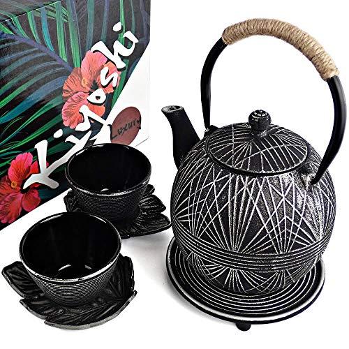 KIYOSHI Luxury 7PC Japanese Tea SetBlack Geo Cast Iron Tea Pot with 2 Tea Cups 2 Saucers Loose Leaf Tea Infuser and Teapot Trivet Ceremonial Matcha Accessories and Iron Anniversary Gifts