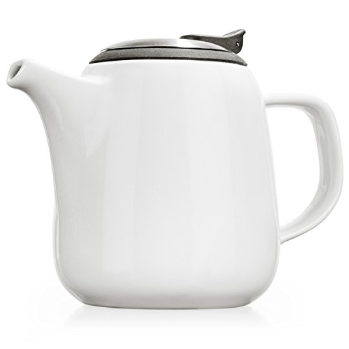 Tealyra - Daze Ceramic Teapot in White - 24-ounce 2-3 cups - Small Stylish Ceramic Teapot with Stainless Steel Lid and Extra-Fine Infuser To Brew Loose Leaf Tea - Dishwasher-safe - BPA and Leed-Free
