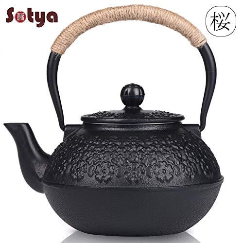 Cast Iron Teapot Sotya Tetsubin Japanese Tea Kettle 1200ml Black
