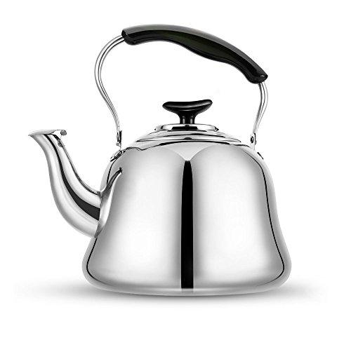 Tea Kettle Stovetop Teapot 2 Liter Stainless Steel Hot Water Kettle Whistling -Mirror FinshFolding HandleFast To Boil Whistling Teakettles