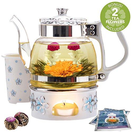 Teabloom Princess of Monaco Teapot Blooming Tea Gift Set 6 Pieces - Borosilicate Glass Teapot 34oz1000ml Porcelain Lid Teapot Warmer Porcelain Tea Infuser  2 Berry Flowering Teas