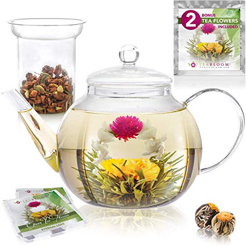 Teabloom Stovetop Microwave Safe Glass Teapot 34-40oz1000-1200ml with Removable Loose Tea Glass Infuser - Includes 2 Blooming Teas - Premium Quality Teapot Gift Set